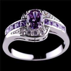 Women Halo Wedding Purple Ring #Unbranded