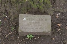 Memorial stone for Vivian Leigh - cremated    played Scarlett in Gone With The Wind