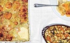 Scalloped Yukon Gold and Sweet Potato Gratin with Fresh Herbs / Tim Morris