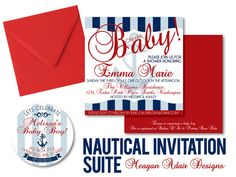 Nautical Baby Shower Invitation Square by meaganadair on Etsy, $1.75