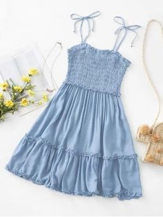 Light Blue Smocked Tie Shoulder Lettuce Trim Summer Mini Dress Women's - Lombn Sites Cute Casual Outfits, Pretty Outfits, Pretty Dresses, Stylish Outfits, Beautiful Dresses, Casual Dresses, Floral Dresses, Women's Dresses, Blue Summer Dresses