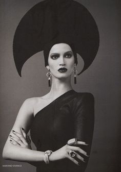 Vogue Marta Berzkalna, from Russia; by Mariano Vivanco (head dress style used in the sci-fi movie DUNE)