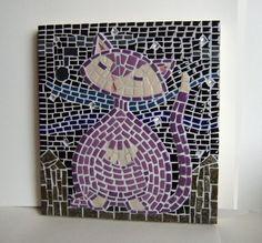 Mosaic Cat Art Purple Kitty Wall Decor by MollycatMosaics on Etsy, $120.00