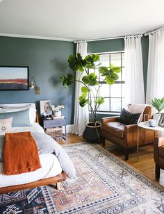 home decor bedroom Green Bedroom Reveal - Little Green Notebook Bedroom Green, Home Bedroom, Green Bedrooms, Bedroom Furniture, Green Bedroom Curtains, Green Bedroom Design, Furniture Sets, Funky Bedroom, Bedroom Ideas