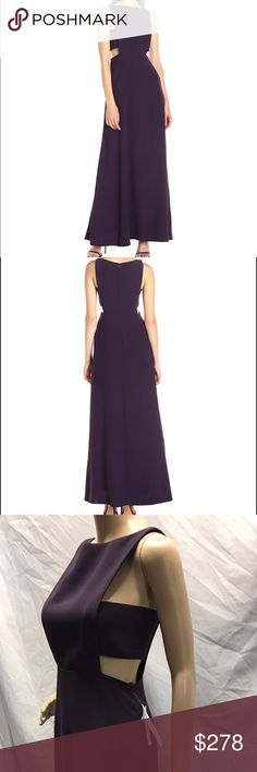 Women fit and flare with side cut outs Gown NWT Jill Jills Stuart In EldenBerry Women fit and flare with side cut outs gown.Perfect for Prom or any formal event. Excellent quality. Retail price for $378. 100 % polyester .Dry clean only. Hidden Zipper.Designed to flatter the figure. Size 2 Jill Stuart Dresses Maxi