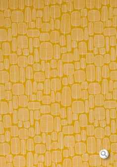 """Little Trees Yellow"" Fabric by Missprint."