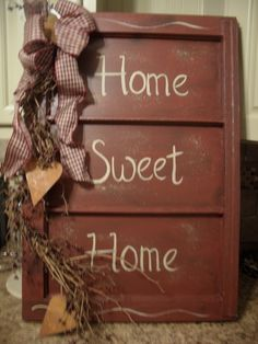 Another window idea - pic a little blurry Primitive Country Crafts, Rustic Crafts, Primitive Kitchen, Decor Crafts, Wood Crafts, Diy Crafts, Primitive Decor, Prim Decor, Country Decor