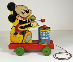 1940s Wood Mickey Mouse Drummer Pull Toy 476 Vintage Fisher Price Childrens Wooden Toys Collectors Gift