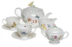 Lenox Butterfly Meadow 7-Piece Tea Set, Service for 2 - http://teacoffeestore.com/lenox-butterfly-meadow-7-piece-tea-set-service-for-2-2/
