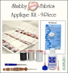 Shabby Fabrics Applique Kit - 9-Piece: ADDITIONAL SHIPPING CHARGES MAY APPLY.  Whether you're new to applique or have been doing it for decades, our Shabby Fabrics Applique Kits will make your life easier!  This Kit includes the following: Stiletto, 2 oz. bottle of Roxanne Glue-Baste-It,  50 sheets of C. Jenkins Freezer Paper (which can be put through a printer), a Loew-Cornell stipple brush for applying your spray starch, a case of 16 Straw Needles, and the Shabby Fabrics Applique Guide - a…