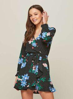 PETITE Floral Spotted Tea Dress