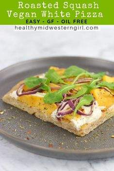 Roasted Squash Vegan White Pizza is a truly luscious vegan 'za. Slightly sweet squash, maple syrup and balsamic are complemented by creamy almond ricotta and countered by spicy red pepper flakes and a crispy, golden brown crust. Vegan Pizza Recipe, Vegetarian Recipes Dinner, Vegan Dinners, Pizza Recipes, Easy Healthy Recipes, Appetizer Recipes, Whole Food Recipes, Vegetarian Pizza, Vegan Appetizers