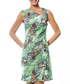 Lime & Red Domaine Feathers Asymmetrical Drape Dress