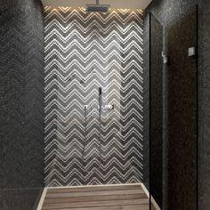 Mosaico protagonista nella doccia rivestita con SENSI di #abkemozioni. Mosaico…