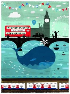 There's a Whale in the Thames! by Jessie Ford. The day the whale appeared in the Thames was a moment of great public intrigue. Seeing a whale in the Thames is not something you see every day and for a moment, London was captivated. London Illustration, Landscape Illustration, Book Illustration, Art Illustrations, London Transport Museum, London Poster, Contemporary Art Prints, London Bus, London City