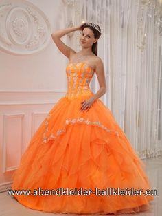 Orangenes Sissi Kleid Weites Abendkleid Ballkleid in Orange