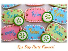 Spa Day Birthday Party | ... slice cookies, spa day party themed cookies, spa day party favors