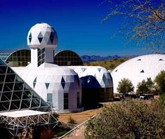 "Biosphere 2, Oracle, AZ (Road: I-40)  This massive three-acre greenhouse was built as a research station to simulate the conditions of space colonization. Constructed to be airtight and self-sustaining, Biosphere 2 was the site of a 2 year experiment with human ""Biosphereans,"" which went awry in 1991 when oxygen had to be pumped in, and subjects were sent crucial lifesaving supplies. Now managed by the University of Arizona and home to ongoing global-warming experiments....."