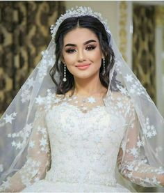 Indian Wedding Gowns, Sheer Wedding Dress, Muslim Wedding Dresses, Romantic Wedding Hair, Wedding Looks, Bridal Dresses, Bridal Makeup Looks, Wedding Hair And Makeup, Bridal Looks