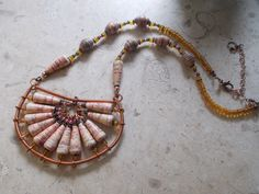 Paper Bead necklace created by Kristen Holdcraft. Paper beads made by PaperBeadBoutique on Etsy.