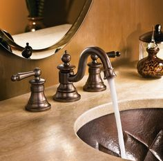 Moen's Waterhill bathroom faucet in bronze.
