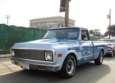 blue flame printed Chevrolet C10 -1971  pickup truck (link has many more photos of similar)