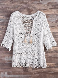 $19.99 Crochet Lace Up Feather Cover Up - WHITE L