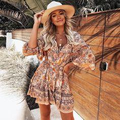 Bohemian Dress - - Sleeve Style: Lantern SleeveDresses Length: Above Knee, MiniMaterial: RayonSleeve Length(cm): WristSilhouette: LooseWaistline: EmpireNeckline: V-NeckDecoration: Ruffles. Estilo Boho Chic, Estilo Hippy, Boho Outfits, Fashion Outfits, Bohemian Outfit, Bohemian Clothing, Cheap Fashion, Dress Fashion, Fashion Women