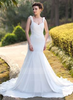 Wedding Dresses - $168.99 - Trumpet/Mermaid Sweetheart Chapel Train Chiffon Wedding Dress With Ruffle Beading (002012746) http://jjshouse.com/Trumpet-Mermaid-Sweetheart-Chapel-Train-Chiffon-Wedding-Dress-With-Ruffle-Beading-002012746-g12746