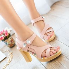Fashion Chunky High Heels Pumps Strappy Sandals Rhinestone Shoes Pink UK5