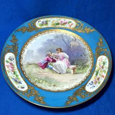 19th century Sevres Porcelain hand painted cabinet plate signed Dorival