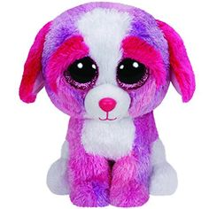 Ty Beanie Boos Sherbet - Multicolor Dog: Beanie Boos are They are made from Ty's best selling fabric - Ty Silk, and are created with fantastic custom eyes. Ty Beanie Boos, Beanie Boo Dogs, Beanie Boo Party, Ty Boos, Rare Beanie Babies, White Puppies, Dogs And Puppies, Ty Teddies, Ty Peluche