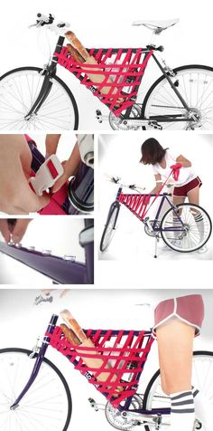 Bike frame with flexible storage (elastic)   http://www.godownsize.com/bike-frame-storage-elastic/