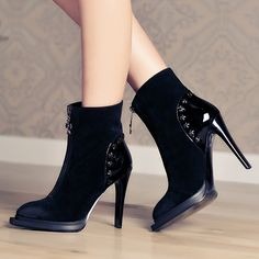 Boots - Black Sexy platform round toes stiletto Ankle Boots @shoesofexception #fashion #platform #ankle #boots