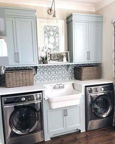 Laundry Room Bathroom, Laundry Room Remodel, Basement Laundry, Laundry Room Organization, Laundry Room Design, Bath Room, Laundry Decor, Bathroom Pink, Design Kitchen