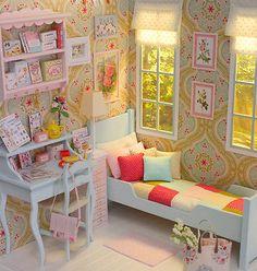 DIORAMA-SPRING-BOUQUET-Bedroom-Dollhouse-Miniature-1-6-scale