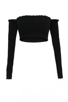 * Black/White * Ribbed * Stretch * All edges are frilled including arms PRE-ORDER ( Shipment can take up to 2 weeks)