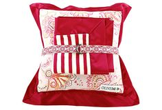 Blanket Set, Fuchsia/White on OneKingsLane.com