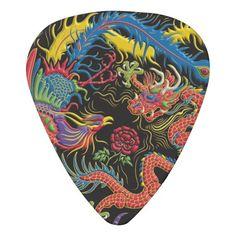 Yin Yang Phoenix and Dragon Guitar Pick