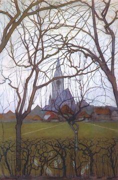 Paintings — art-is-art-is-art:   Village Church, Piet Mondrian