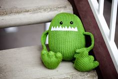 this little guy makes me smile .. Harold the Amigurumi Stuffed Animal Monster Toy by AllStuftUp