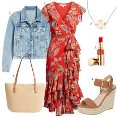 floral ruffle dress espadrille sandals summer outfit what to buy summer summer sales red floral ruffle dress wedge espadrille sandals straw tote summer trends Source by dailystylefinds outfits Floral Dress Outfits, Red Floral Dress, Summer Dress Outfits, Spring Outfits, Casual Dresses, Casual Outfits, Summer Floral Dress, Spring Dresses, Floral Jacket