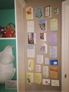 "I loved all the ""welcome home baby"" cards too much to put in a scrapbook. So I tacked them to his bedroom wall! Now we can read all the beautiful messages together when he's old enough. #decorating the #nursery"