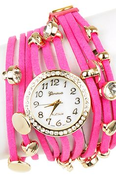 Hot Pink Leather Wrap Watch