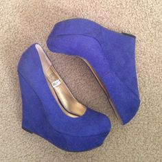 """5"""" blue swede wedges Perfect blue swede wedges size 8 worn once. Perfect for a fun night out! Great condition, just not worn enough. Hoping to get them someone who will get great use out of them  Shoes Wedges"""