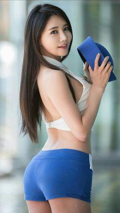 Asian Woman in white bra & blue shorts Sexy Girl, Sexy Hot Girls, Cute Asian Girls, Cute Girls, Asian Hotties, Asia Girl, Poses, Beautiful Asian Women, Korean Model
