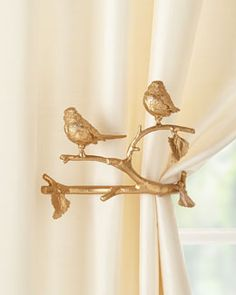 Minor Feathered Friends Curtain Holdback, Set of Two Feathered Friends Curtain Holdback, Set of Two by Janice Minor Export at Horchow.Feathered Friends Curtain Holdback, Set of Two by Janice Minor Export at Horchow. Gold Curtain Rods, Gold Curtains, Curtain Ties, Curtain Holder, Diy Curtain Holdbacks, Luxury Curtains, Floral Curtains, Window Curtains, Gold Home Decor