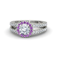 Round Diamond 14K White Gold Ring with Amethyst