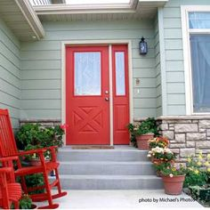 Front door with sidelight- can't decide if I like the sidelight the same or diff color than the door