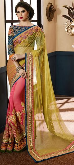 Floral Embroidered Saree  191024 Green, Pink and Majenta  color family Bridal Wedding Sarees, Party Wear Sarees in Georgette, Net fabric with Border, Machine Embroidery, Patch, Resham, Stone, Zari work   with matching unstitched blouse.